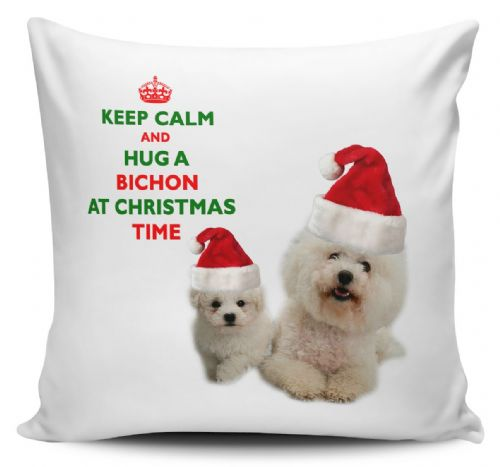 Christmas Keep Calm And Hug A Bichon Novelty Cushion Cover